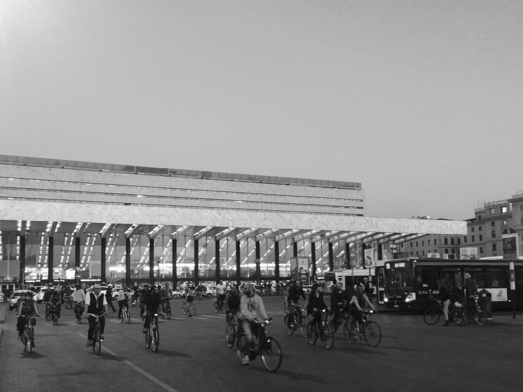 Rome's Termini Station during Critical Mass bike ride